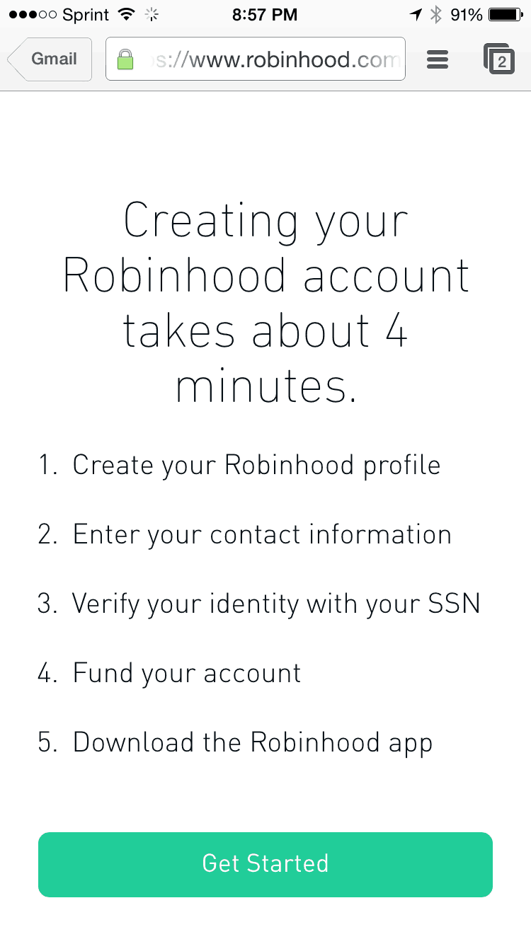 Robinhood Signup