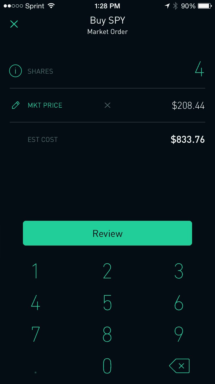 Robinhood Buy Screen