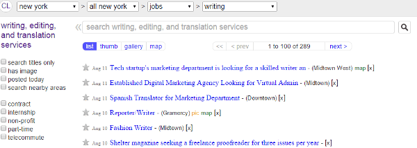 find writing jobs on craigslist