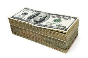 stack of money charity