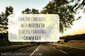 Invest in companies with accelerated quarterly earnings growth rate