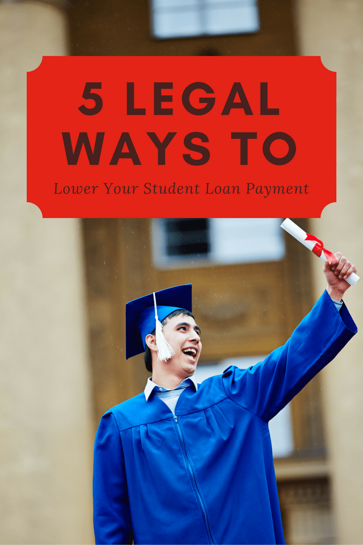 Here are five different legal ways that you can lower your student loan payment, by switching repayment plans or refinancing your loans.