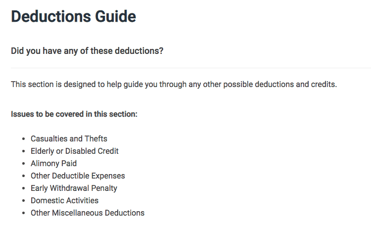 E-File Deductions Guide