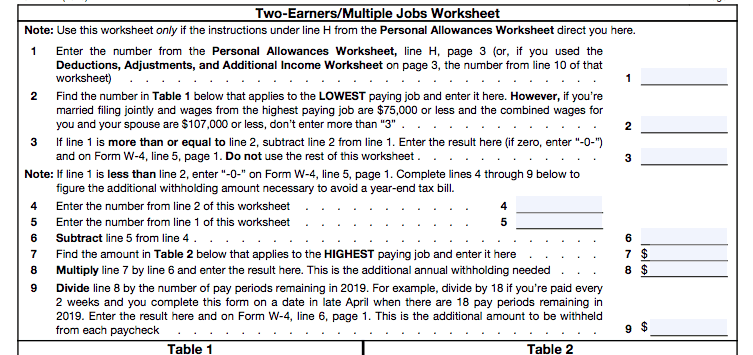 Form W-4 withholdings