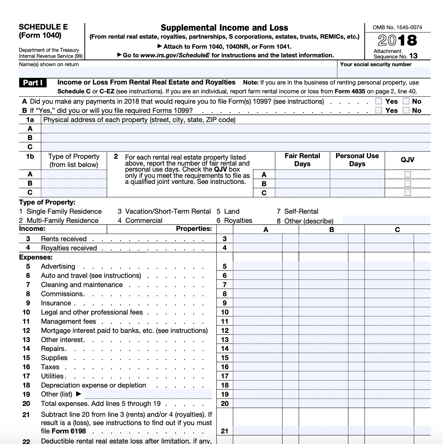 Schedule E Tax Form