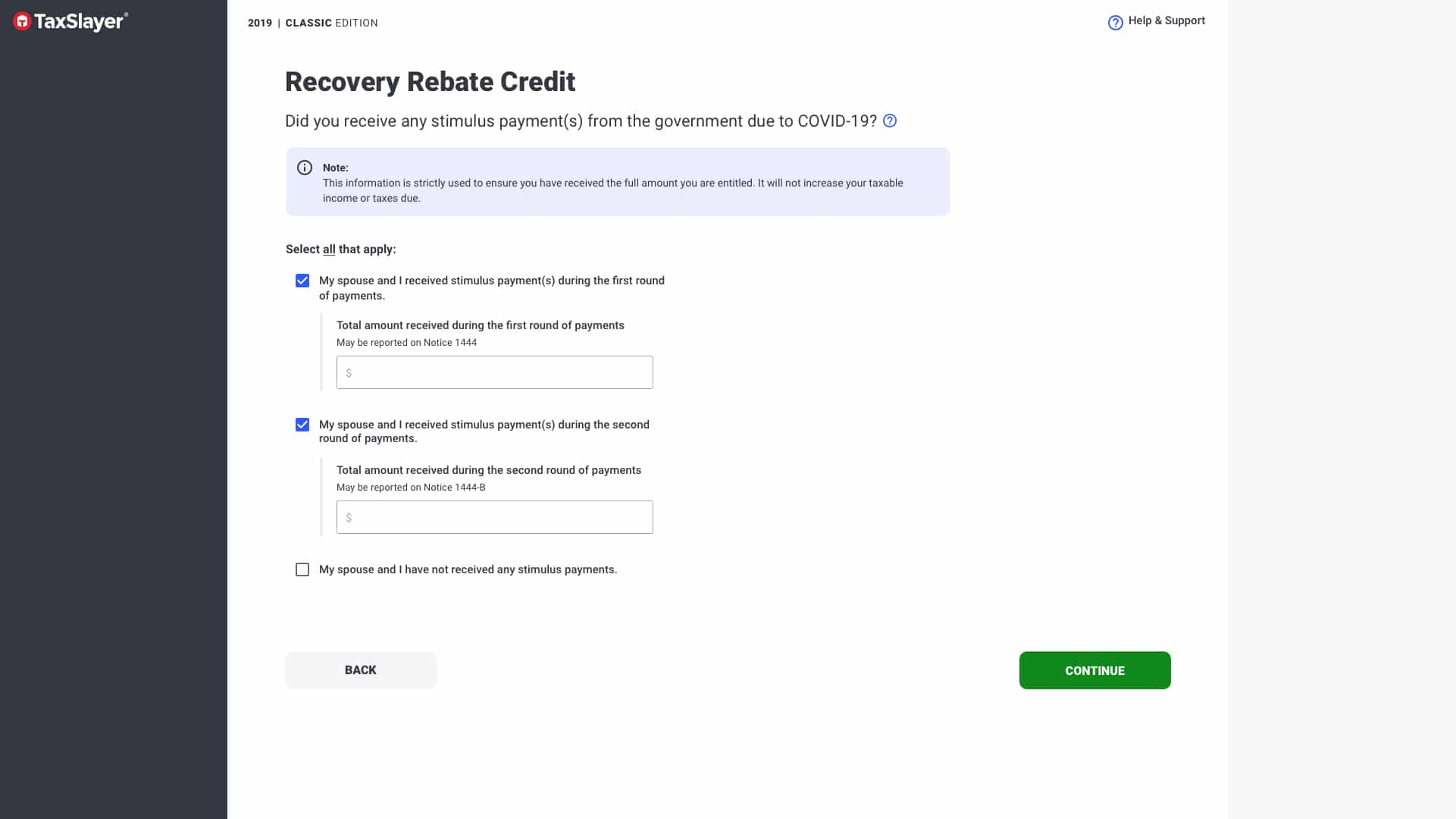 TaxSlayer Recovery Rebate Credit